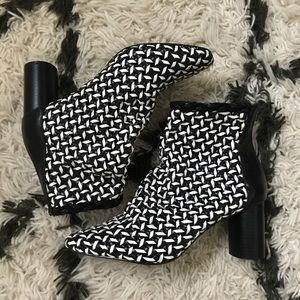 Zara Black & White Leather Ankle Boots